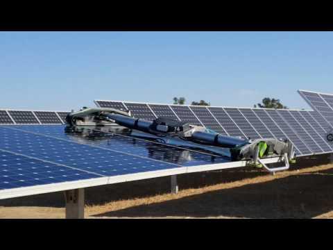 Robotic Solar Panel Cleaner Demonstration At UC Davis Solar Farm