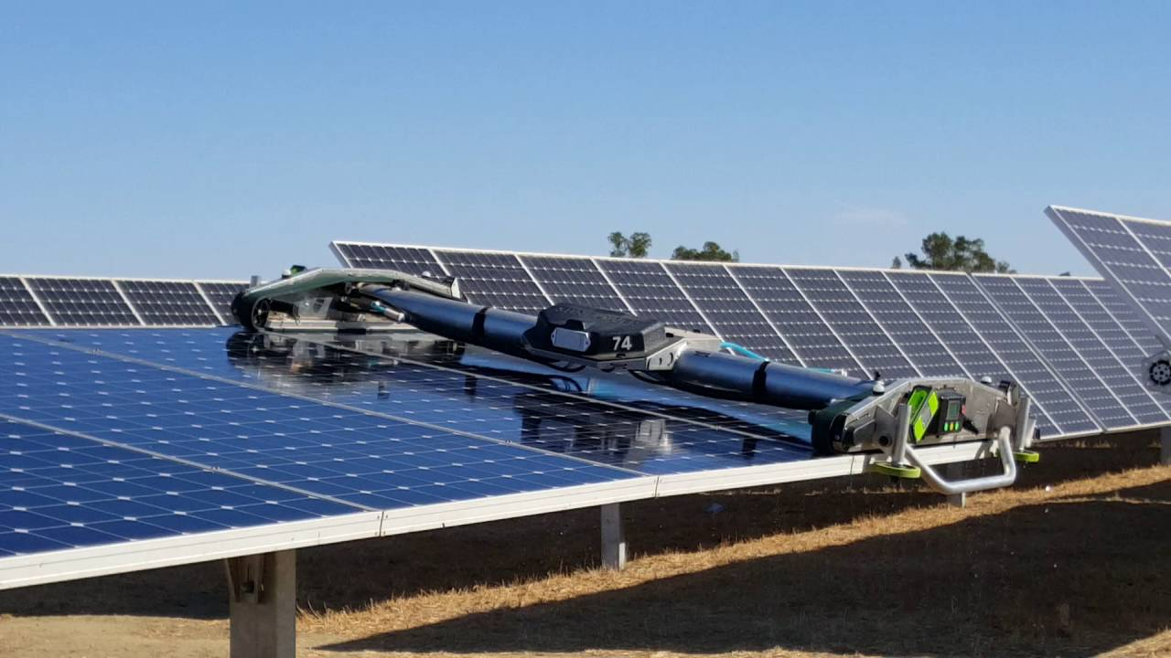 Robotic Solar Panel Cleaner Demonstration At Uc Davis