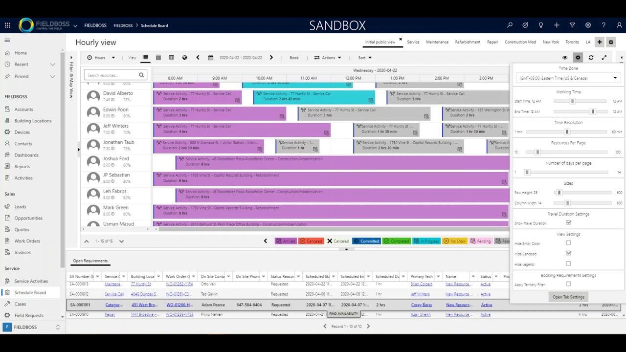 Schedule Board Settings