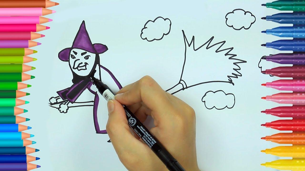 Cómo dibujar bruja ✴ | Para colorear para Halloween | Aprende ...