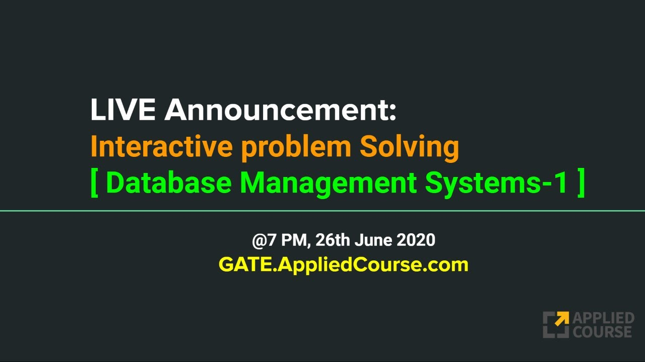 LIVE: Interactive Problem Solving session on Database Management Systems-1-2