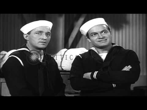 """Scenes from """"Road to Home"""" starring Bob Hope and Bing Crosby. US Navy film to fac...HD Sto"""