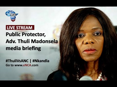 Public Protector, Thuli Madonsela, holds a media briefing
