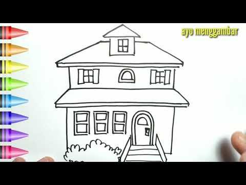Mudahnya Ayo Belajar Cara Menggambar Rumah Indah Dan Mewarnai Kartun Untuk Anak Anak Indonesia Youtube