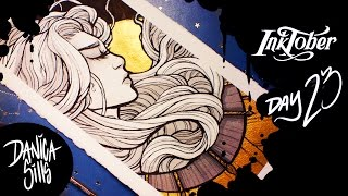 Inktober Day 23 || Art Deco || Ink Wash and Gold Ink Artwork