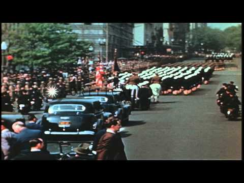 The funeral procession of President Franklin D. Roosevelt moves on the streets of...HD Stock Footage