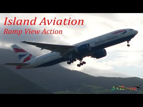Apron View Departures @ St. Kitts Airport !!! American A320, Amerijet 762F, Delta 757, BA 777-200..