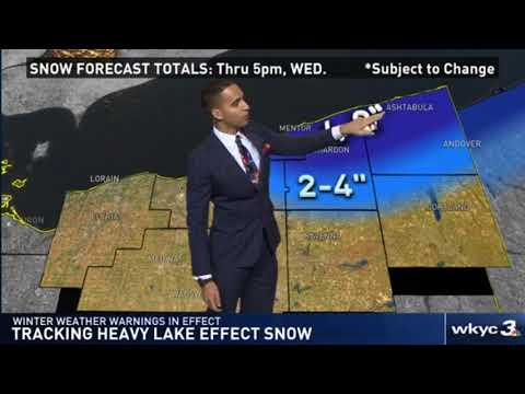 Heavy lake effect snow hits portions of Northeast Ohio