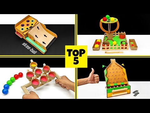 Top 5 Amazing Cardboard Games || DIY Cardboard Desktop Games