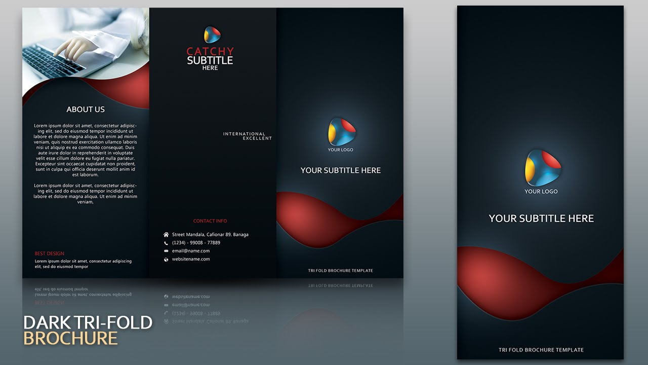Design dark tri fold brochure cover photoshop tutorial for How to design a brochure in photoshop