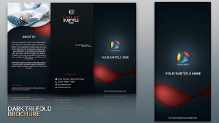 Design Dark Tri Fold Brochure Cover Photoshop Tutorial