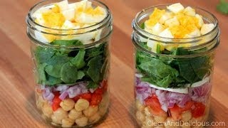 Clean Eating Spinach Salad Jars