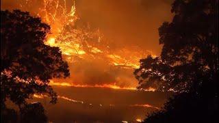 FERGUSON FIREFIGHT: Raw overnight video of the Ferguson Fire burning near Yosemite National Park