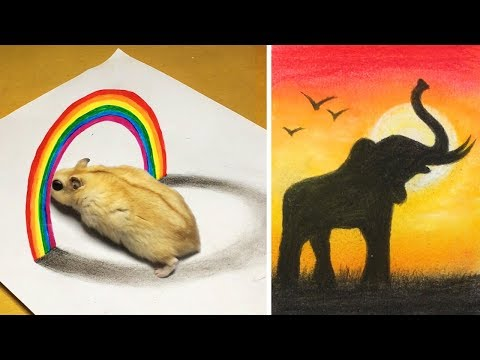 13 Easy Yet Awesome Drawing Tricks | Tutorial Drawing |3D drawingl 77 draw  tricks thumbnail