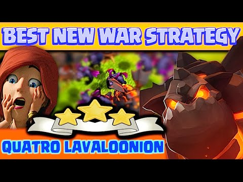 Clash Of Clans |AMAZING NEW WAR STRATEGY| Quatro Lavaloonion!