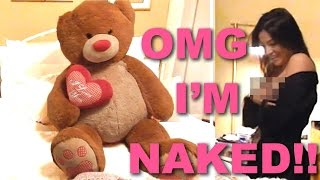 GIANT TEDDY BEAR SCARE PRANK ON GIRLFRIEND *GONE WRONG* NAKED AND SCARED!!