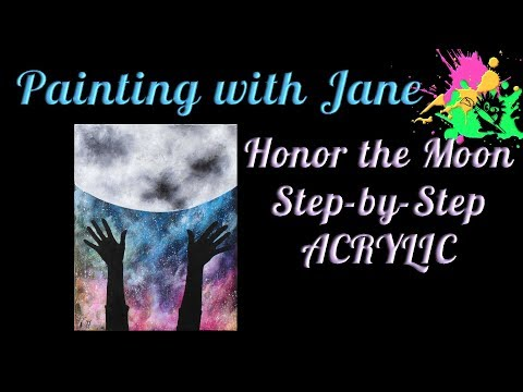 Honor the Moon Step by Step Acrylic Painting on Canvas for Beginners