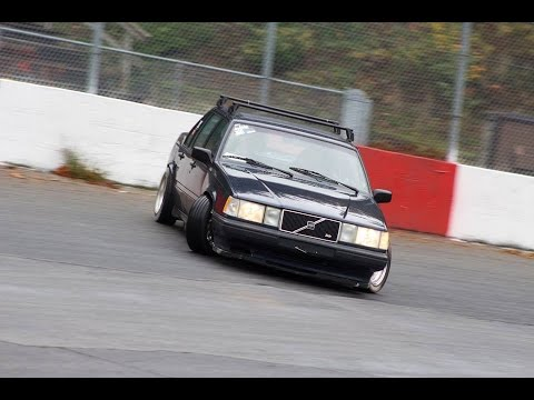 Modified Turbo Volvos Drifting An Oval Track