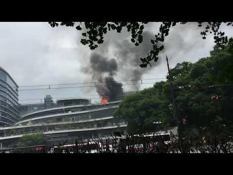 熊本さくら町再開発のビルが火事