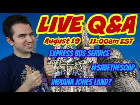 LIVE Q&A - Express Bus Service 👋 #Savethesoap ❤️ Indiana Jones Land? 👨🏫