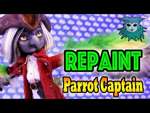 Doll Repaint: Parrot Pirate Captain (Squeekers) thumbnail