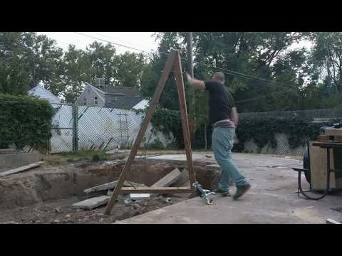 """Labor saving device! """"A"""" frame modified Greek Crane for pulling heavy concrete"""