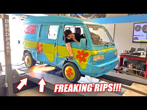 ROTARY Swapped Mystery Machine EP.4 - BOOSTED Micro Van Hits the Dyno!!! (baby boost)