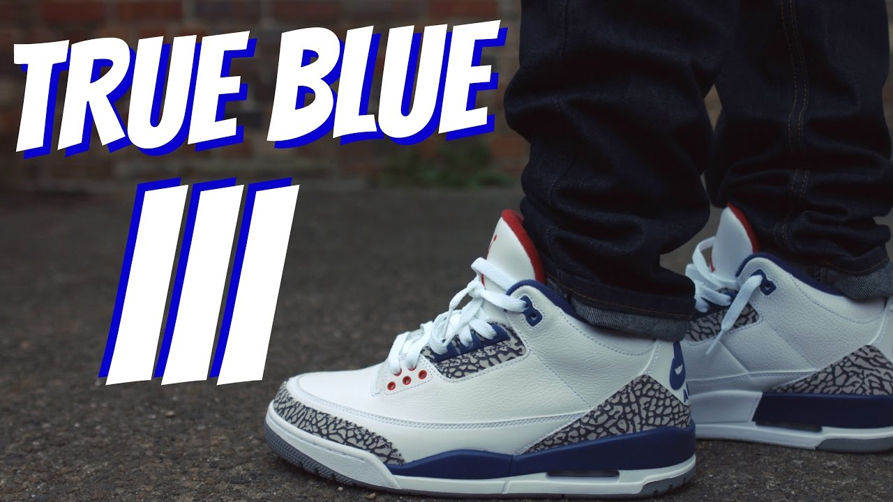 air jordan iii true blue on feet