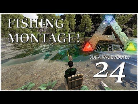Ark Survival Evolved Ragnarok - Ep. 24 Fishing Montage!! - Ascendant Fishing Rod