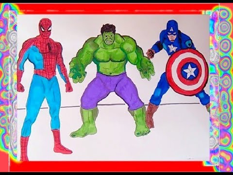 Superheroes Coloring Book Spiderman Hulk Captain America Learning Colors Kids