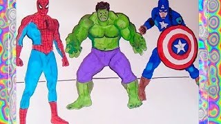 Superheroes Coloring Book Spiderman, Hulk,  Captain America   Learning colors kids