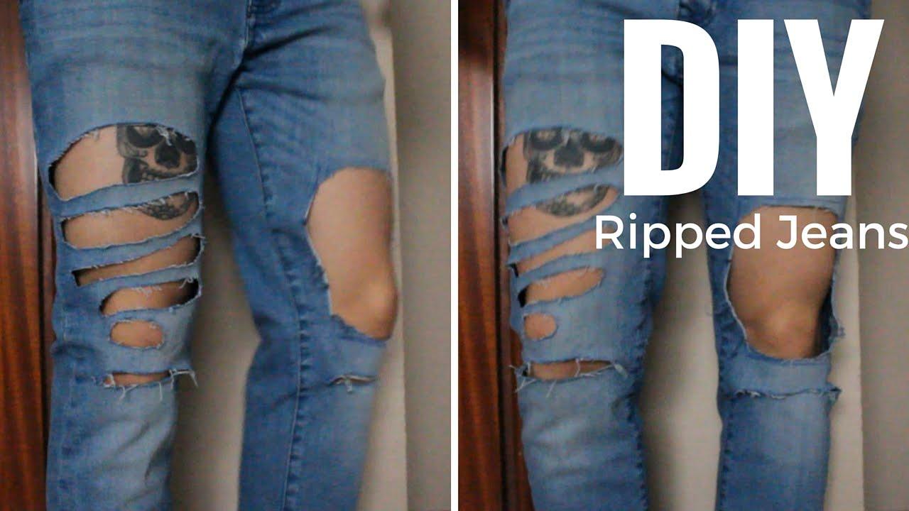 diy ripped distressed jeans diy vaqueros rotos mens