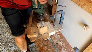 Home-made Tools. Hands-free, quick-action drilling clamp. Bricolaje abrazadera. Brico presse