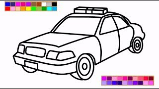 How to Draw a Police Car Coloring Pages Learn Colors for Kids with Colored markers Coloring Video