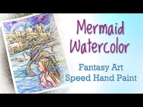 Looking Back – Fantasy Mermaid Art Watercolor Gouache Painting Demonstration Speed Hand Paint