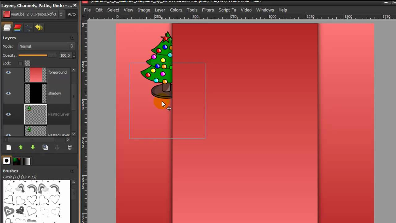 make a youtube channel background with gimp new design