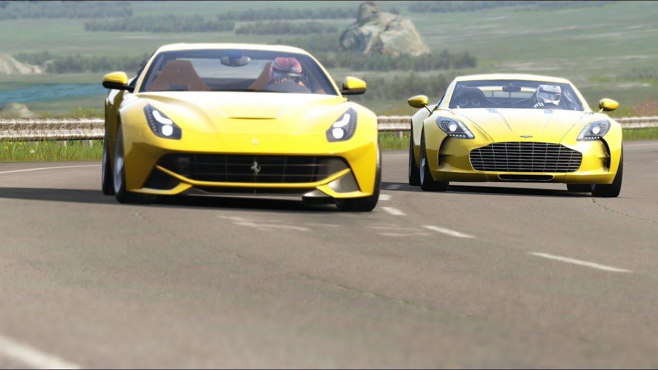 Aston Martin One 77 Vs Ferrari F12 Berlinetta At Highlands Youtube
