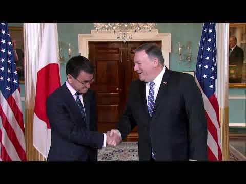 Secretary Pompeo Greets Japanese Foreign Minister Kono