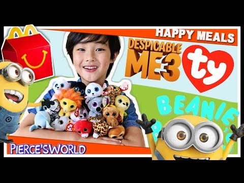 2017 Despicable Me 3 Minions Happy Meal Toys & TY Beanie Boos McDonald's Happy Meal Toys