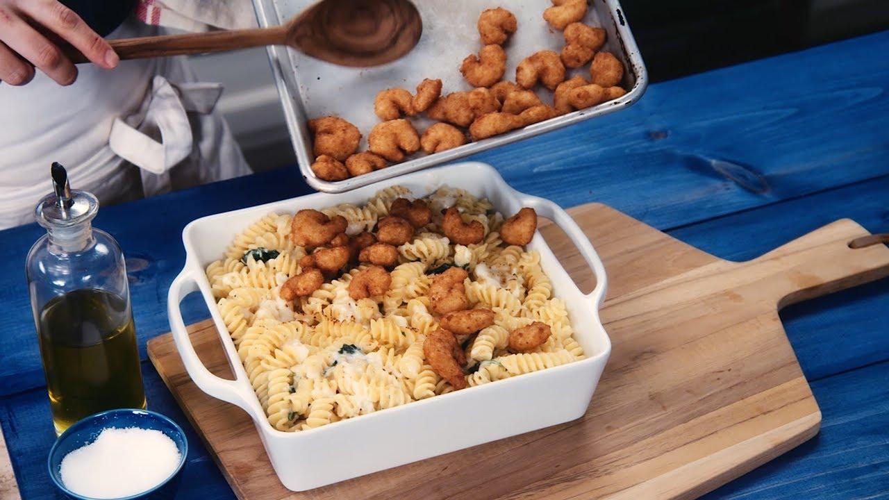 How To Make Seapak S Parmesan Pasta Popcorn Shrimp Spinach Bake Youtube