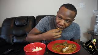 Eating poundo and ogbono