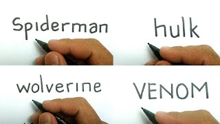 Compilation how to turn words from marvel heroes SPIDERMAN , HULK , WOLVERINE , VENOM into cartoon
