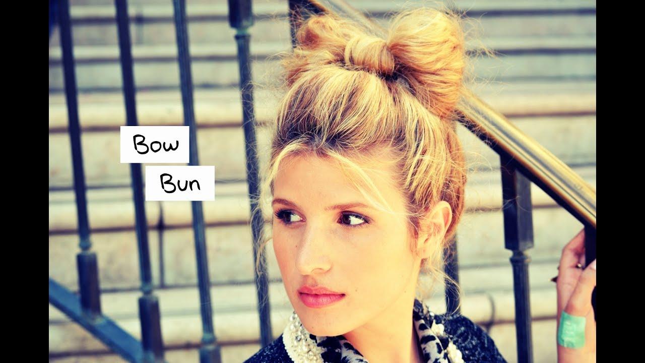 diy hair bow bun and styling tutorial