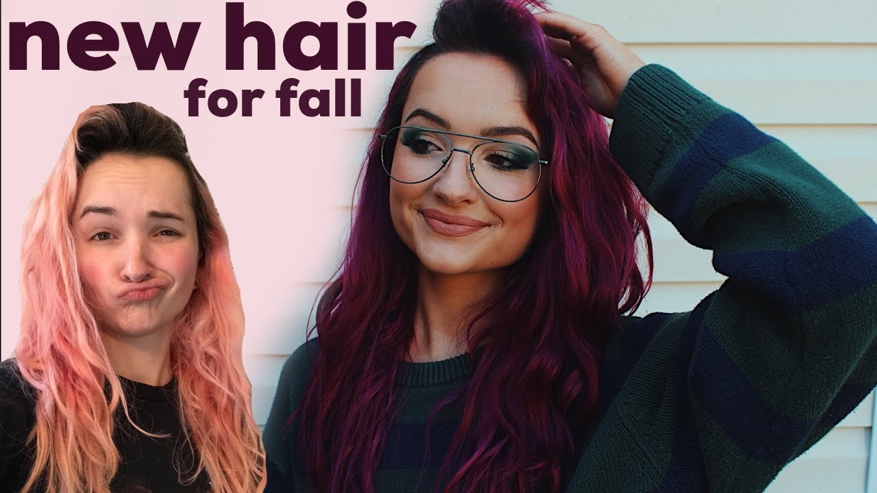 dying my hair Burgundy at home for fall \ going from pink to Burgundy hair