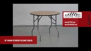 "Round Wood Folding Tables - 36"" / 3' Diameter"