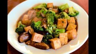 Baked Tofu with Broccoli and Shiitake Mushrooms