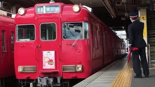 [サクラサク系統板付き‼️]名鉄6000系中期車 6029f(普通東岡崎行き)犬山駅 発車‼️