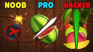 NOOB vs PRO vs HACKER - Fruit Ninja screenshot 3
