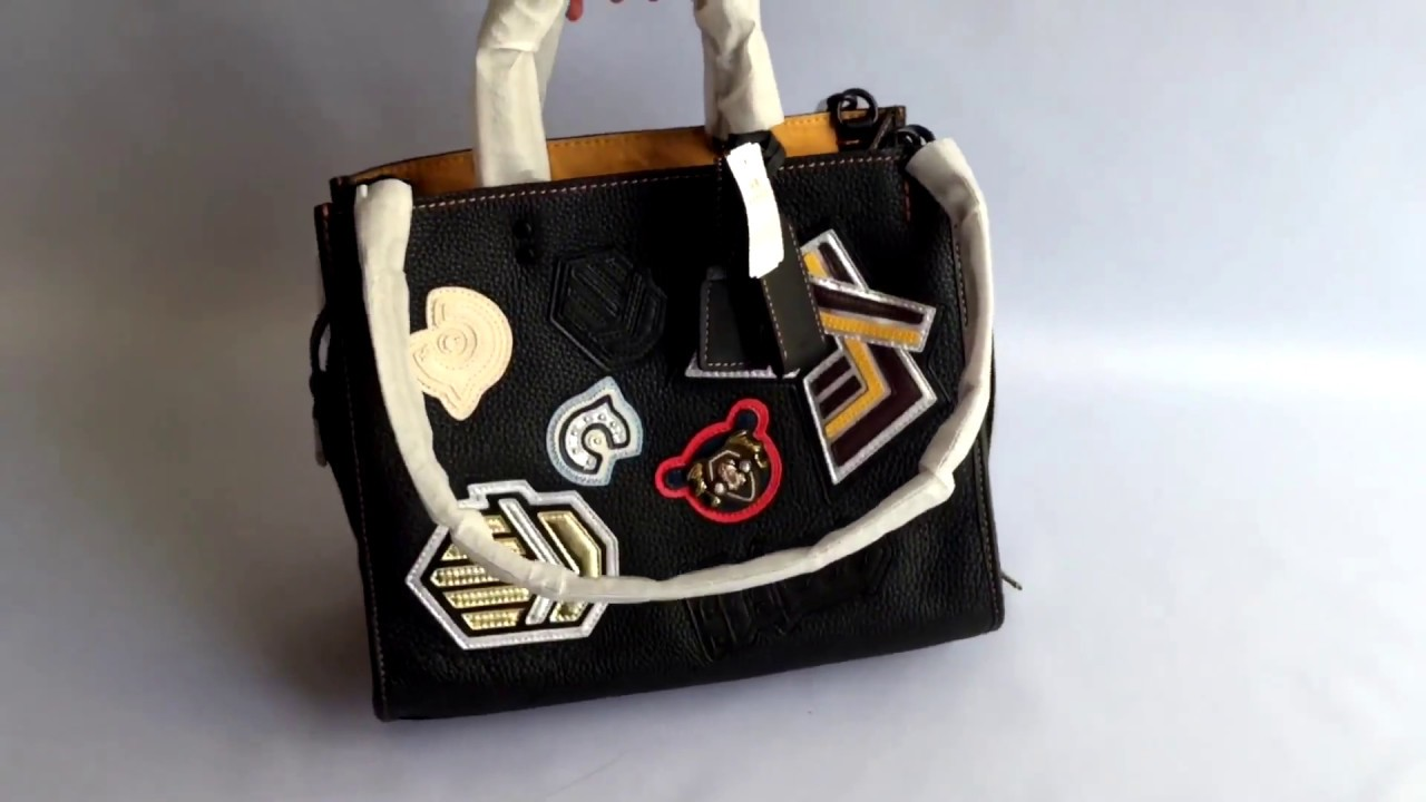 Сумка Coach VARSITY patch rogue bag in pebble leather - YouTube 658c6d5be8baa