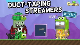 Duct-taping Growtopia Streamers PRANK!! *Live Reactions*